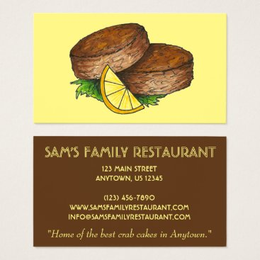 Beach Themed Crabcakes Crab Cakes Seafood Chef Food Restaurant Business Card