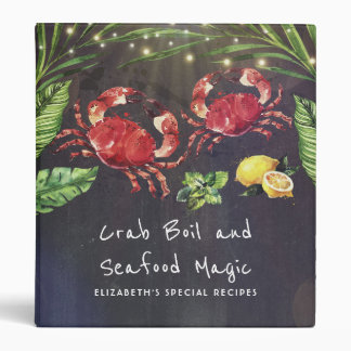 Crabs and Seafood Tropical Recipes 3 Ring Binder