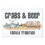 "Crabs & Beer Family Tradition Invitations 5"" X 7"" Invitation Card"