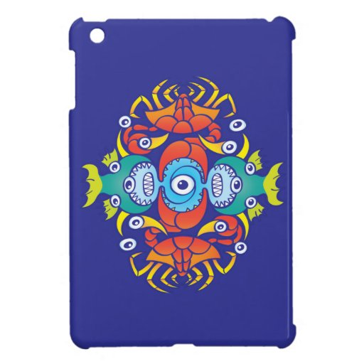 Crabs, fish and octopuses for a summer pattern case for the iPad mini