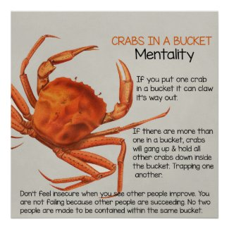 Crabs in a Bucket Square Poster Print