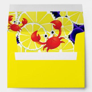 Crabs on lemon envelope