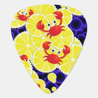 Crabs on lemon guitar pick