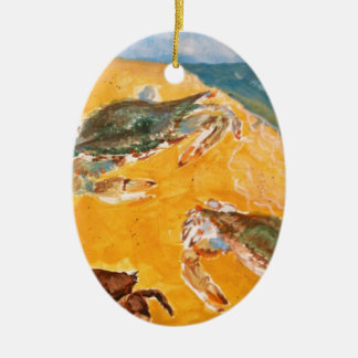 Crabs on the beach christmas tree ornaments