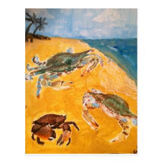 Crabs on the beach postcard