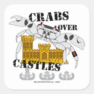 Crabs over Castles Square Sticker