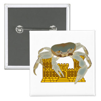 Crabs over cracked castles pinback buttons