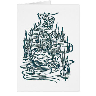 Crabs, Salmon and Whitebait in Stream Greeting Card