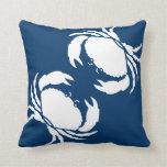 CRABS WHITE on blue pillow