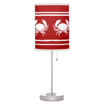 CRABS White on Red Desk Lamp