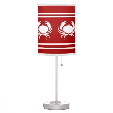 Beach Themed CRABS White on Red Desk Lamp