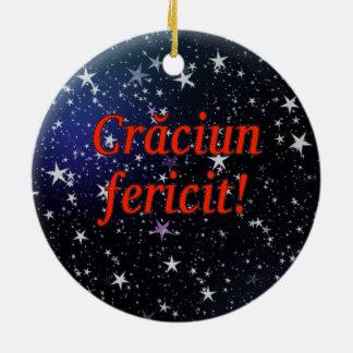 Crăciun fericit! Merry Christmas in Romanian rf Ceramic Ornament