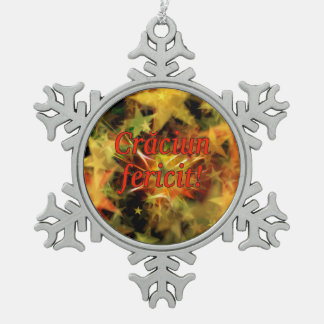 Crăciun fericit! Merry Christmas in Romanian rf Snowflake Pewter Christmas Ornament