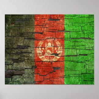 Cracked Afghan Flag Peeling Paint Effect Poster