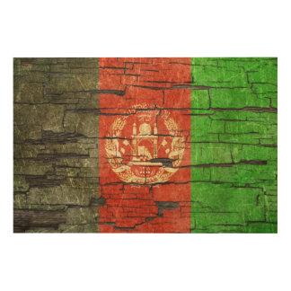 Cracked Afghan Flag Peeling Paint Effect Wood Print