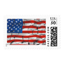 Cracked American flag Postage