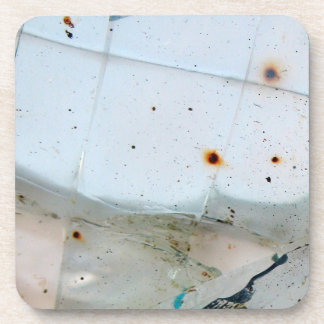 Cracked and Rusty Glass Drink Coaster