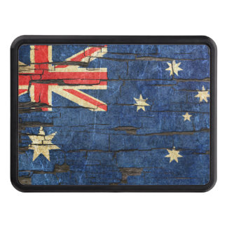 Cracked Australian Flag Peeling Paint Effect Tow Hitch Cover