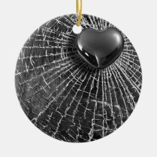 Cracked Black Heart Ceramic Ornament