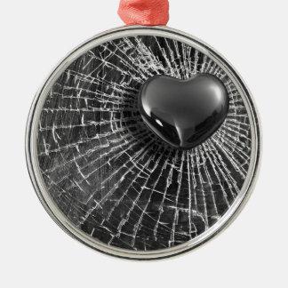 Cracked Black Heart Metal Ornament