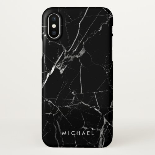 Cracked Black Marble Texture Personalized Name Phone Case