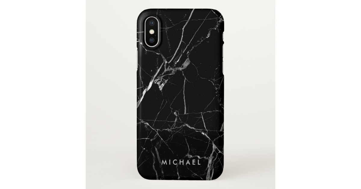 Cracked Black Marble Texture Personalized Name Iphone Case