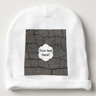 Cracked black pavement texture baby beanie