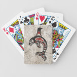 Cracked Blue and Black Haida Spirit Killer Whale Bicycle Playing Cards