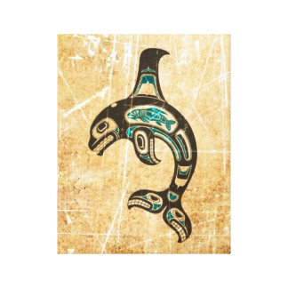 Cracked Blue and Black Haida Spirit Killer Whale Stretched Canvas Prints