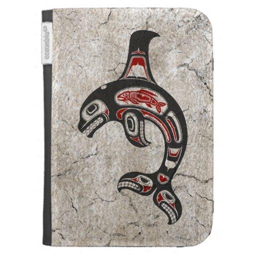Cracked Blue and Black Haida Spirit Killer Whale Kindle Cases