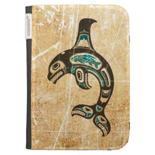 Cracked Blue and Black Haida Spirit Killer Whale Kindle 3G Covers