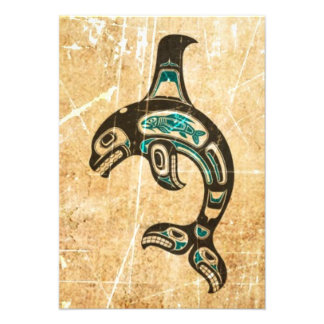 Cracked Blue and Black Haida Spirit Killer Whale Personalized Announcement