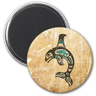 Cracked Blue and Black Haida Spirit Killer Whale Magnet