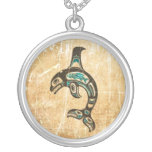 Cracked Blue and Black Haida Spirit Killer Whale Custom Necklace