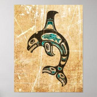 Cracked Blue and Black Haida Spirit Killer Whale Poster