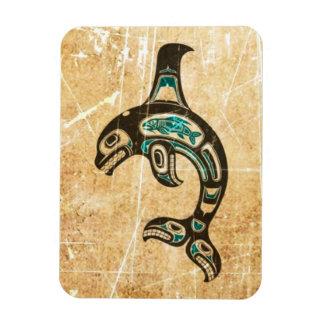 Cracked Blue and Black Haida Spirit Killer Whale Flexible Magnet