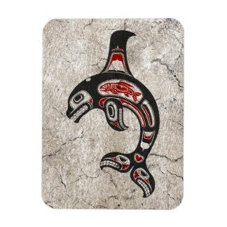 Cracked Blue and Black Haida Spirit Killer Whale Rectangle Magnet