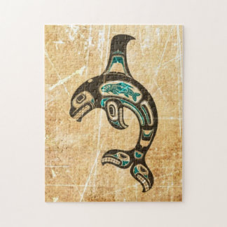 Cracked Blue and Black Haida Spirit Killer Whale Puzzles