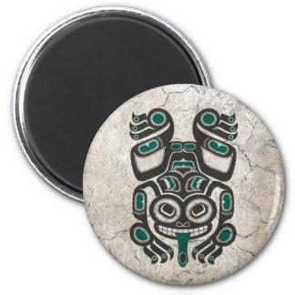 Cracked Blue and Black Haida Spirit Tree Frog Fridge Magnets