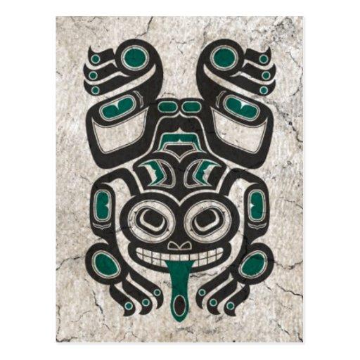 Cracked Blue and Black Haida Spirit Tree Frog Postcard