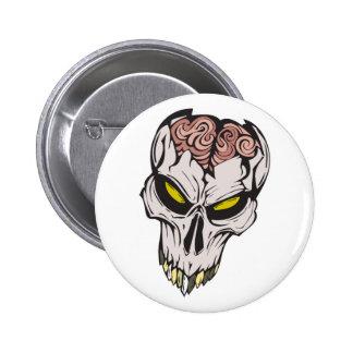 cracked brain skull button
