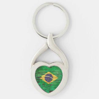 Cracked Brazilian Flag Peeling Paint Effect Keychain