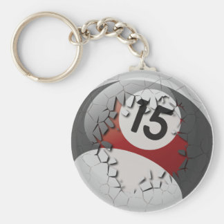 Cracked Break Out Number 15 Billiards Ball Basic Round Button Keychain