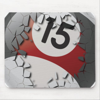 Cracked Break Out Number 15 Billiards Ball Mouse Pad