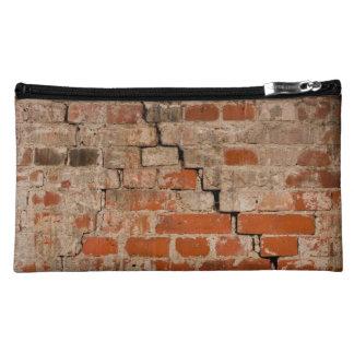 Cracked brick wall cosmetic bag