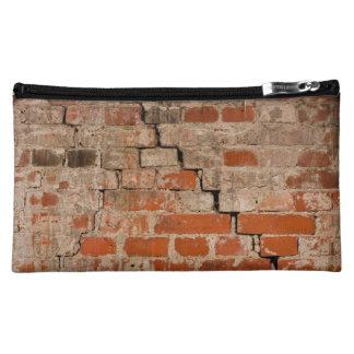 Cracked brick wall makeup bags