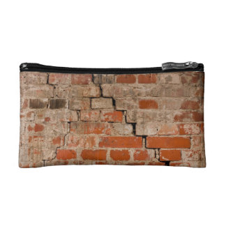 Cracked brick wall makeup bag