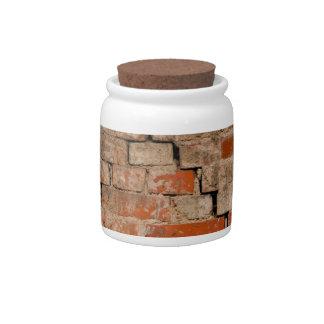 Cracked brick wall candy jars