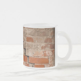 Cracked brick wall frosted glass coffee mug