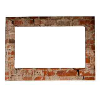 Cracked brick wall magnetic picture frame